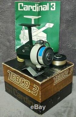 Vintage 1975 Zebco Cardinal 3 Reel Spinning Presque Neuf Dans La Boîte Fabriquée En Suède Rare