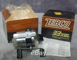 Vintage 1976 Zebco 33xbl Moulinet Tout Neuf Dans La Boite! Fabriqué Aux Etats-unis The Boss