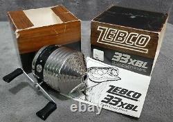 Vintage 1976 Zebco 33xbl Reel Nouveau Dans La Boîte Avec Manuel Extrêmement Rare! Fabriqué Aux Etats-unis