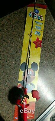Vintage Jamais Utilisé Mickey Mouse Enfants Canne À Pêche Zebco Rod, Reel, Plug