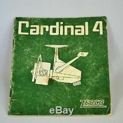 Vintage Zebco Cardinal 4 Spinning Reel Avec Manuel (sans Boîte) Bon État Suède