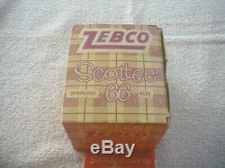 Zebco Scottee 66 Reel Vintage, Boîte, P / W, Brossé Alum, 1958 Seulement Par An. Très Agréable